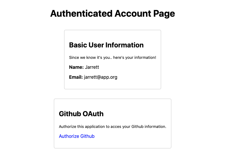 Private Authenticated Page for application