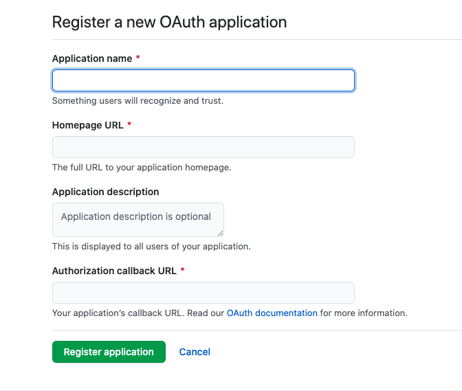 register a new oauth app