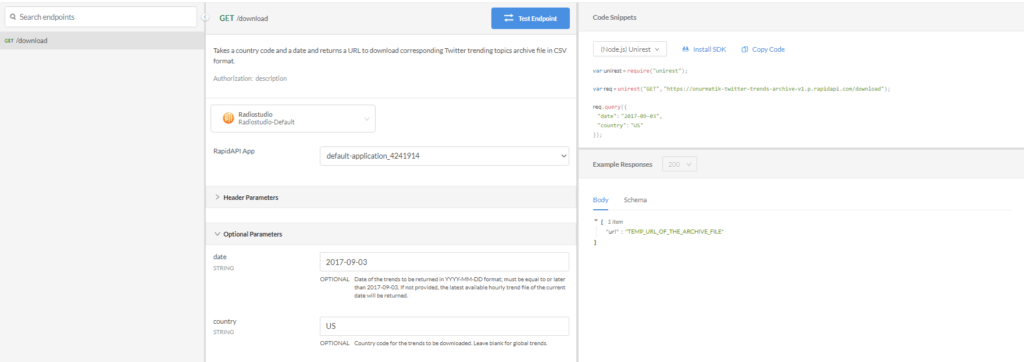 Twitter Trending Topics Archives API Endpoints