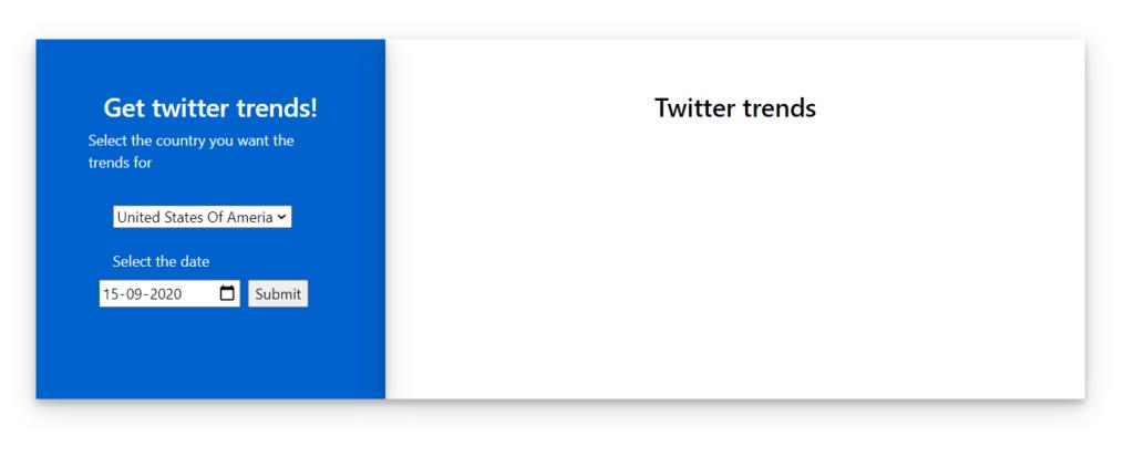 Twitter Trends Initial Screen