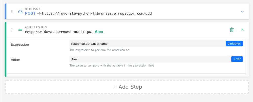 adding assertion step