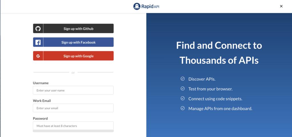 sign up for rapidapi