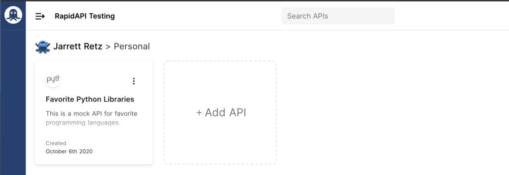 RapidAPI testing dashboard