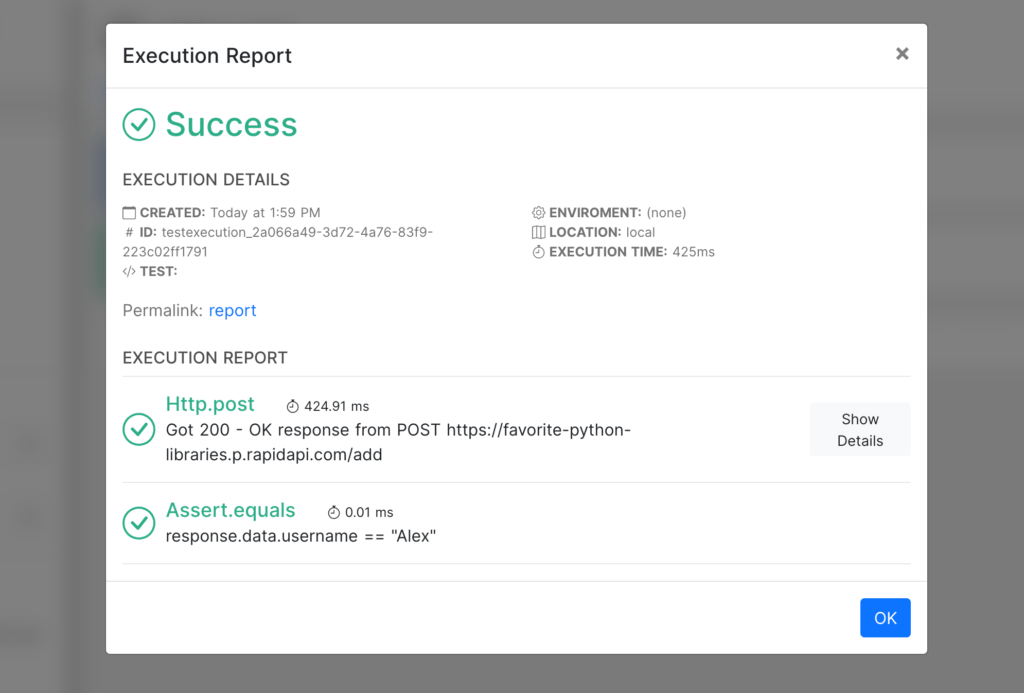 execution report for test