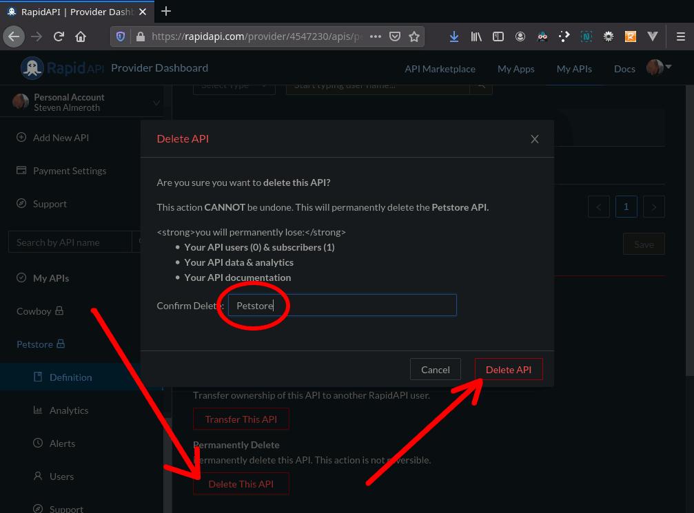 Provider Dashboard – Delete API