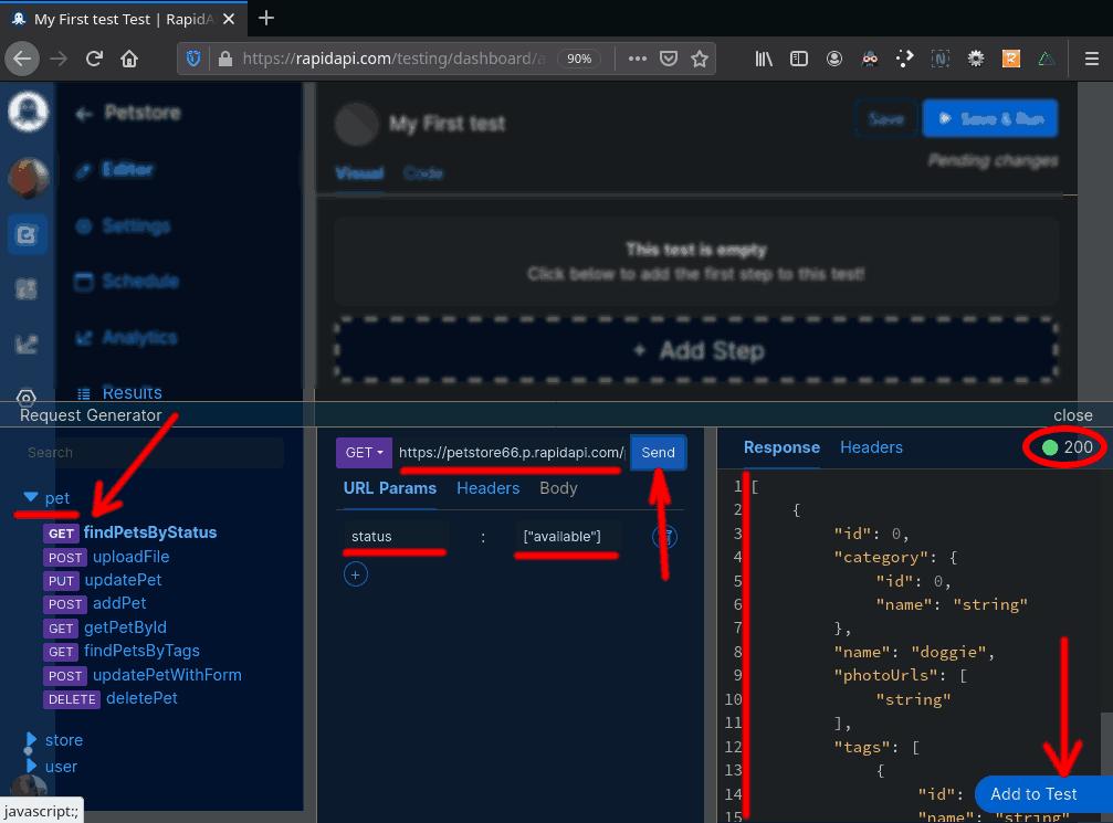 RapidAPI Testing / Petstore API / Request Generator