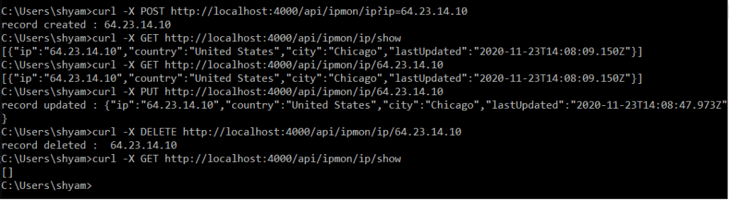 API Testing Results