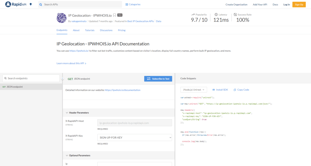 IPGeolocation API Console