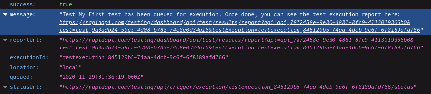 Formatted JSON Output from Trigger API Call