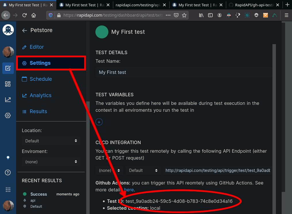 Petstore API Test Settings Test ID