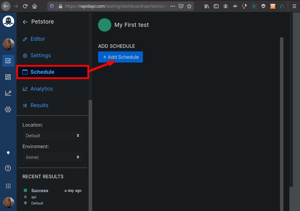 Petstore API Test Schedule Empty List