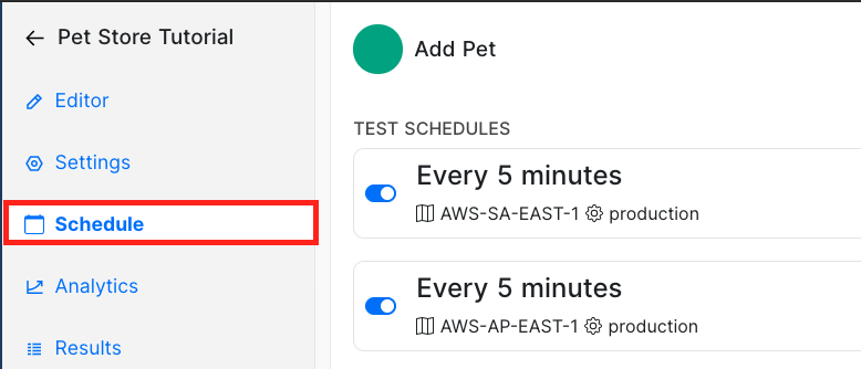 Schedule tab in Pet Store API