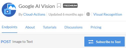 Google Vision API Subscribe