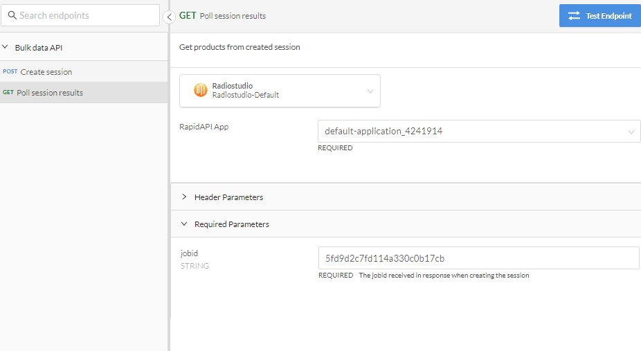 Price Analytics API Get Session Results Request