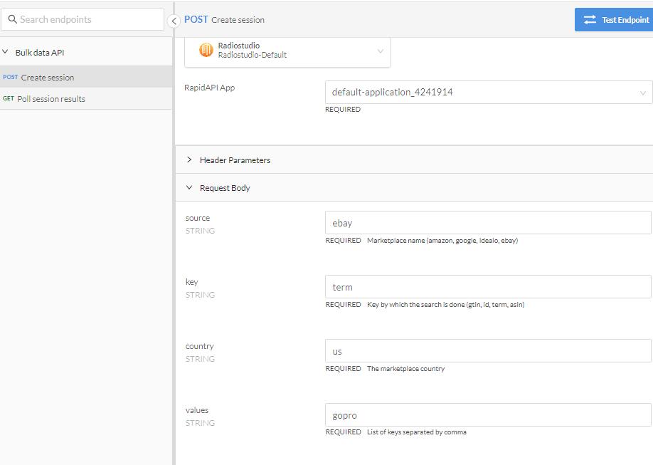 Price Analytics API Session Request