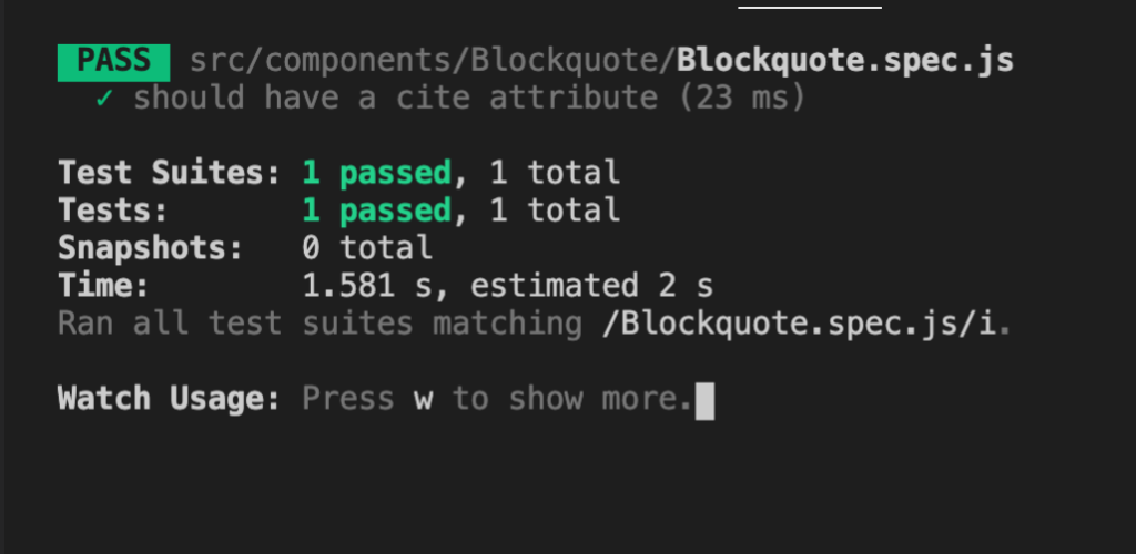 jest output for successful test
