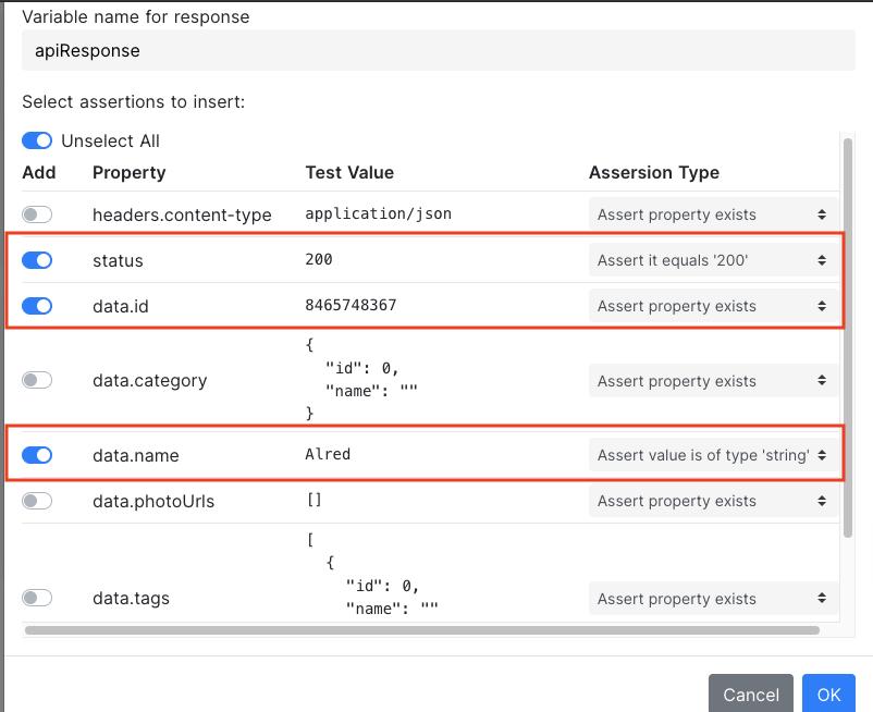 test assertions for response