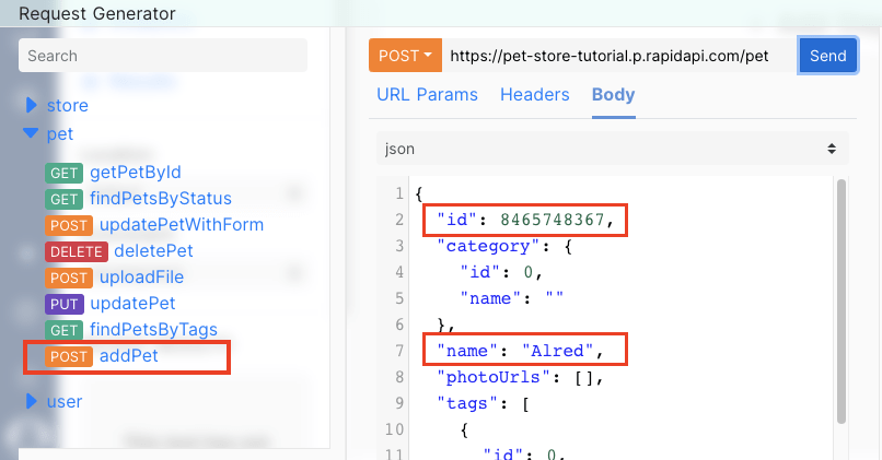 enter json ID and name