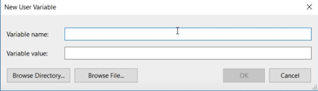 new user variable environment variable