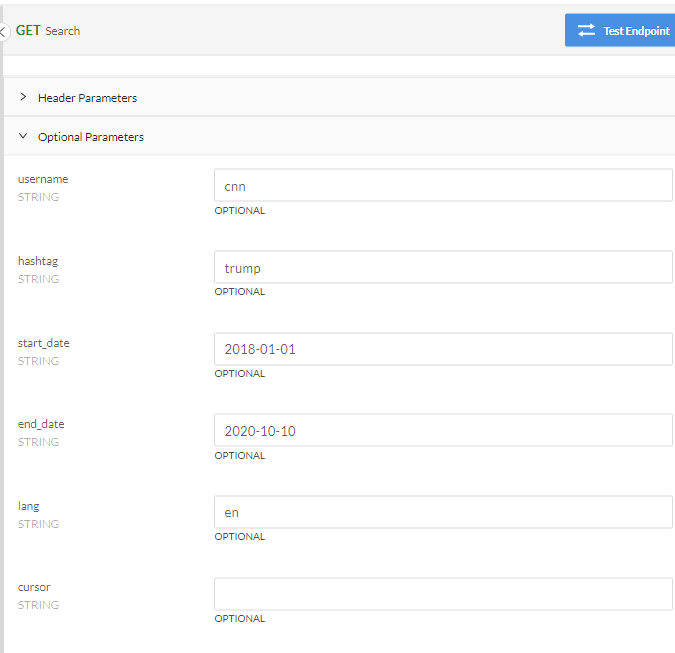 GET Search Request Parameters