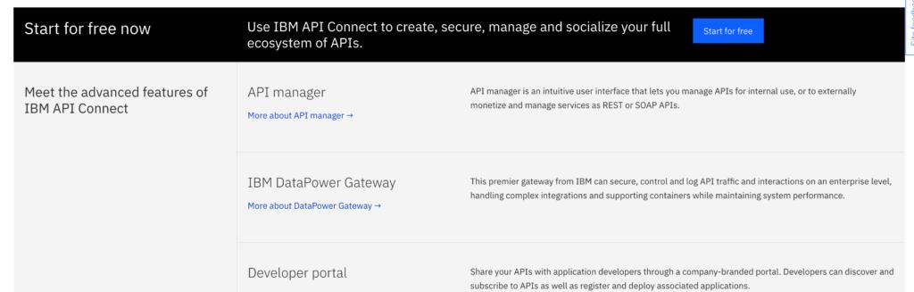 IBM API connect features list