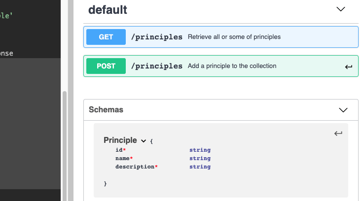 schema for principle object in documentation