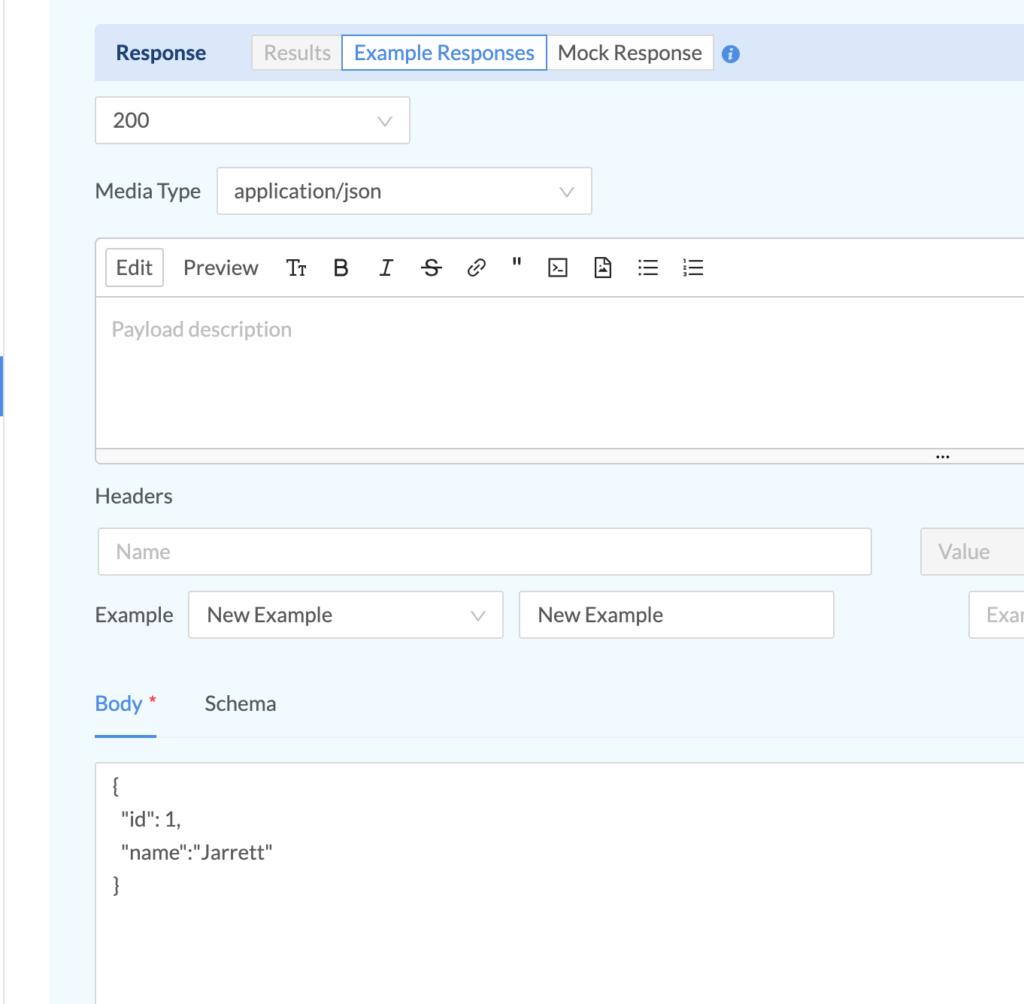 example response form input