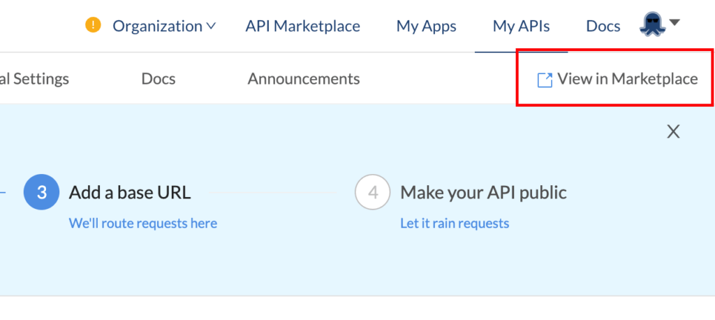 view in marketplace button