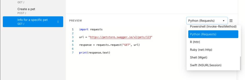 python request code for pet store api