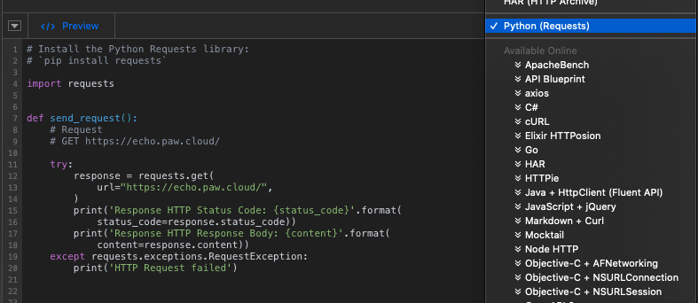 stock data Python request code snippet