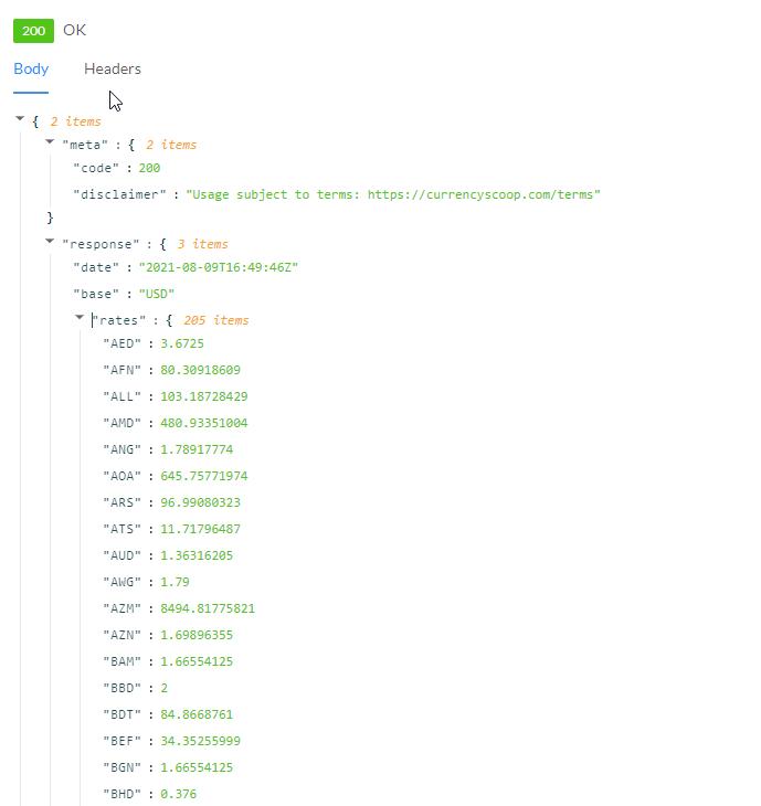 LatestRates API Response