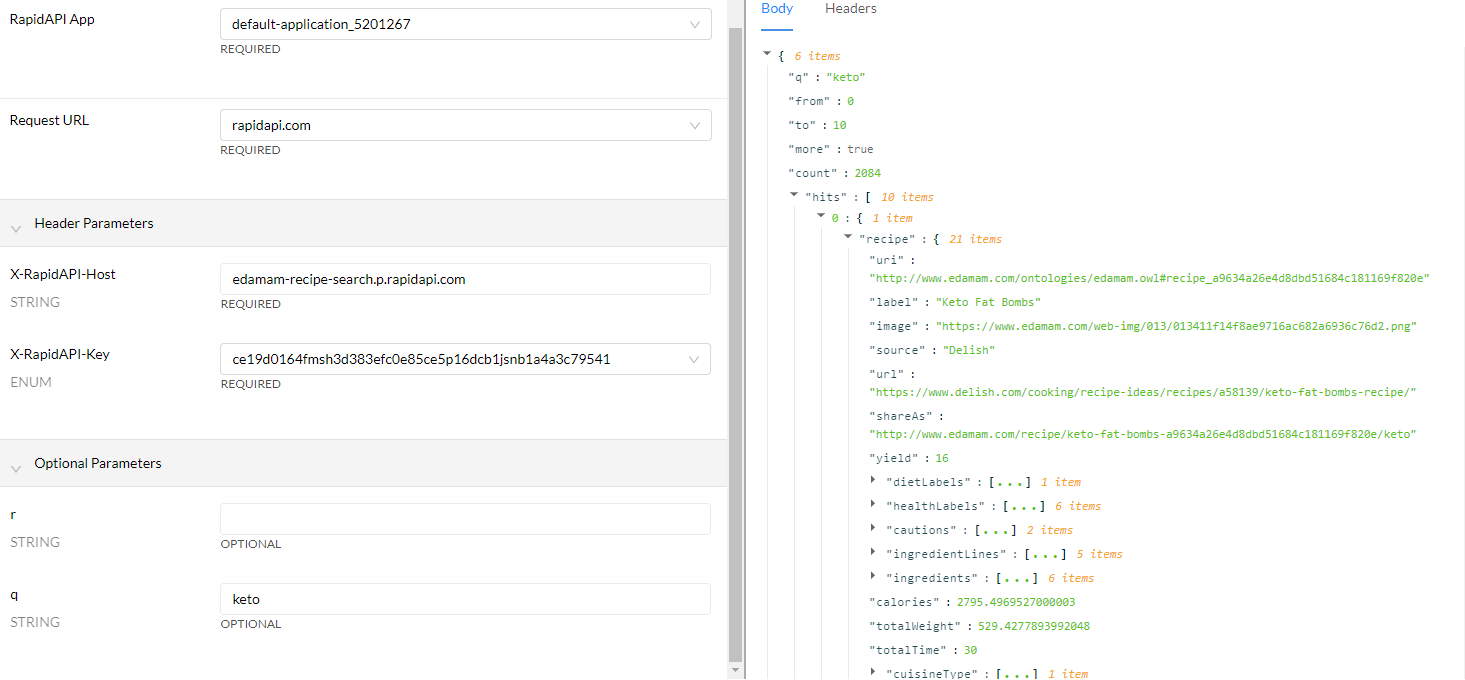 Recipe Search and Diet API