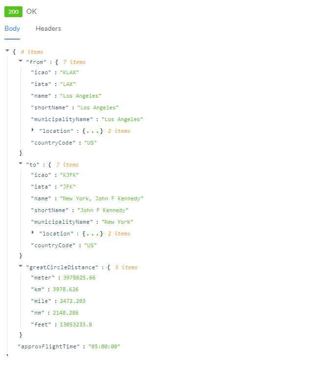 Distance API Response